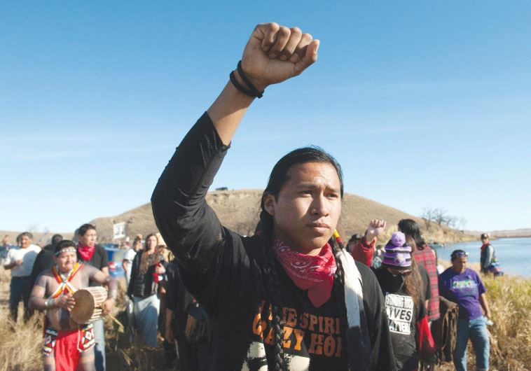 PROTESTERS DEMONSTRATE against the building of a pipeline on the Standing Rock Indian Reservation in