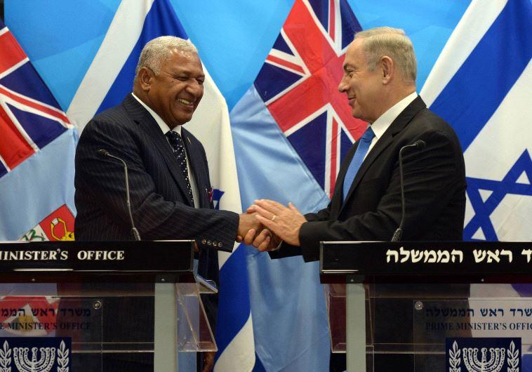 Prime Minister Benjamin Netanyahu with Fiji Prime Minister Frank Bainimarama