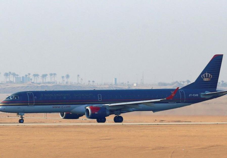 A Royal Jordanian plane takes off on the runway at Cairo Airport,
