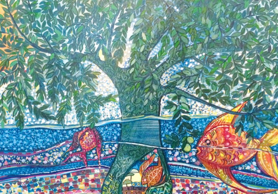 Paintings of olive trees at the Jaffa Art Salon