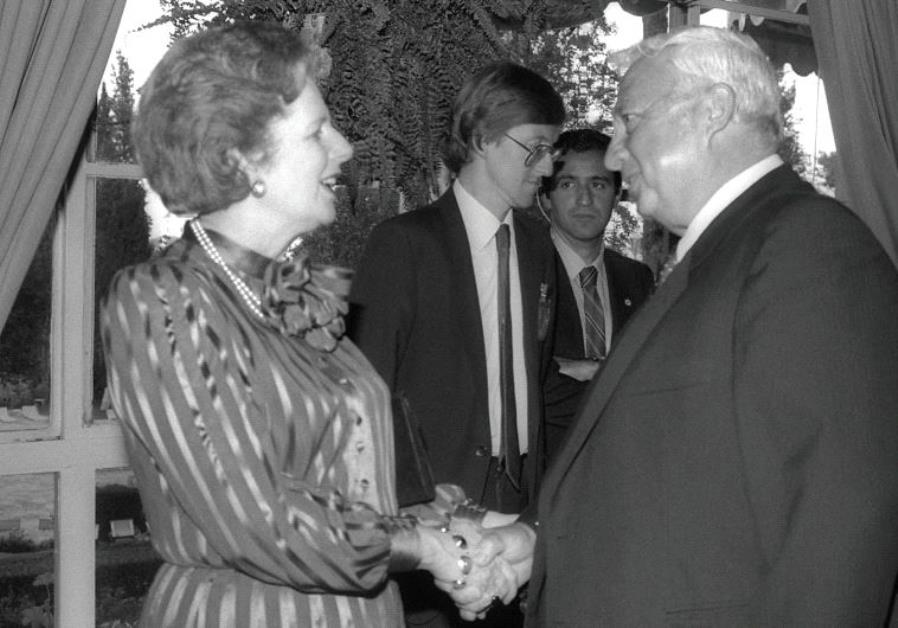 THEN-British prime minister Margaret Thatcher, who the author refers to as a 'philosemite,' greets A