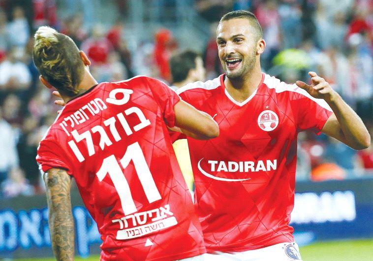 Hapoel Beersheba striker Ben Sahar (right) celebrates with Maor Buzaglo