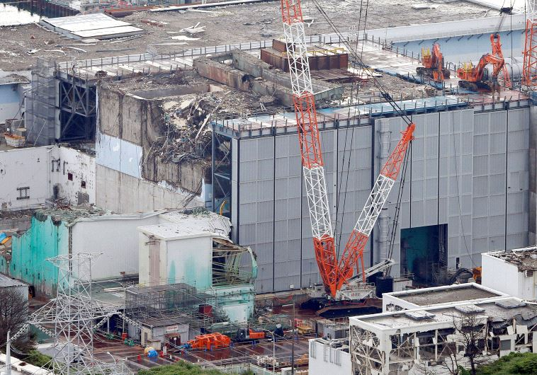 An aerial view shows No.3 reactor building at tsunami-crippled Fukushima Daiichi nuclear power plant