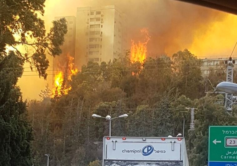 Buildings ablaze in Haifa