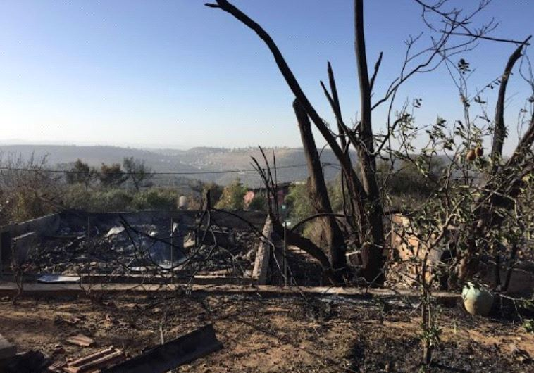 Fire damage in Halamish.