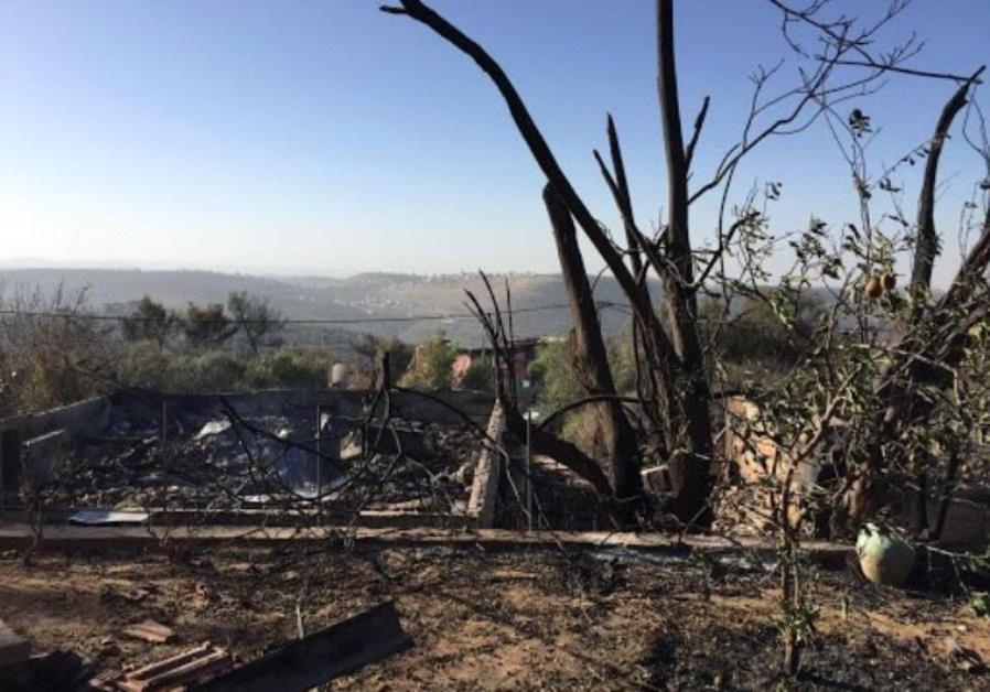 Fire damage in Halamish.