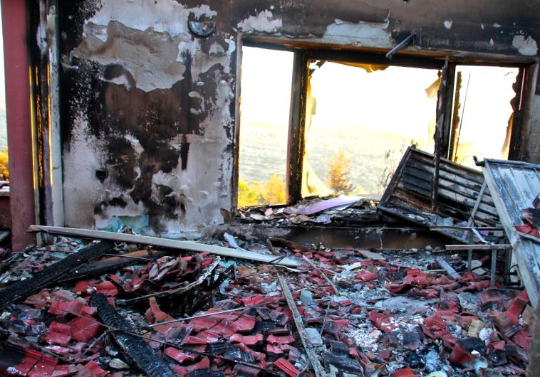 Fire damage in Halamish. Photo: Tovah Lazaroff.