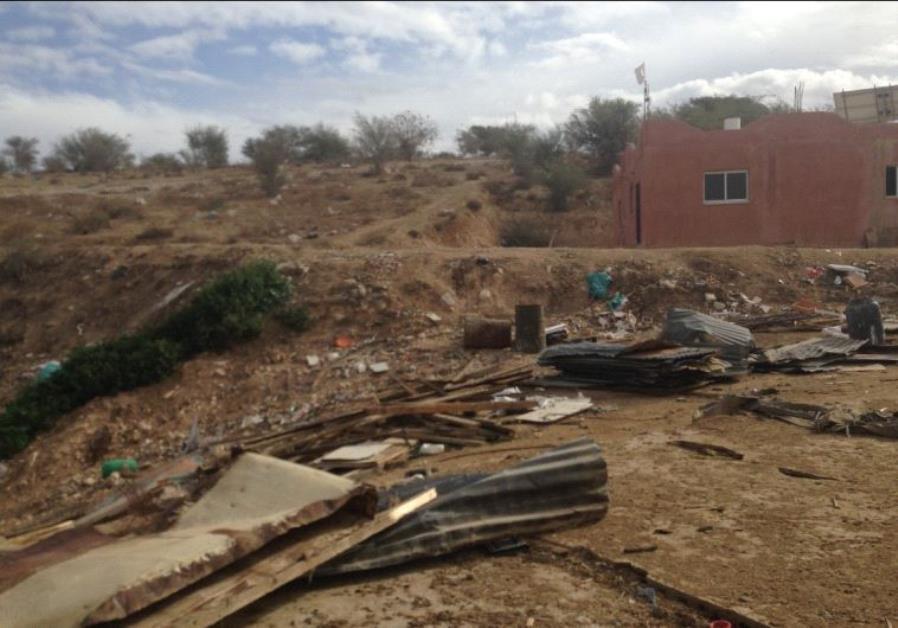 One of Ahmad Abu al-Kaeean destroyed structures in Umm-al-Hiran