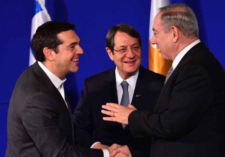 Israeli PM Netanyahu, Greek PM Tsipras and Cyprus President Anastasiades in a trilateral summit
