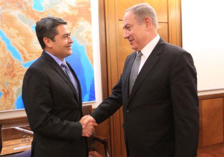 Honduras President Juan Orlando Hernández and Prime Minster Benjamin Netanyahu