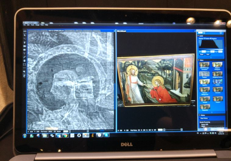 A screenshot of an oil painting next to its x-ray image showing hidden elements.