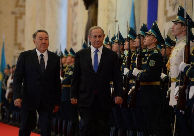 Prime Minister Benjamin Netanyahu with Kazakhstan President Nursultan Nazarbayev