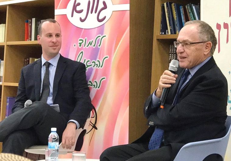 JERUSALEM POST Editor-in-Chief Yaakov Katz (left) interviews Alan Dershowitz at Matan Ra'anana.