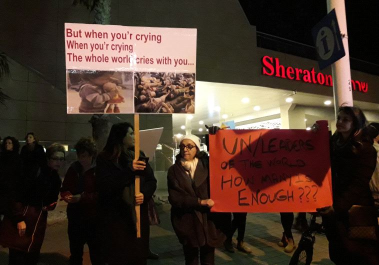 Protesters in front of Russian embassy in Tel Aviv