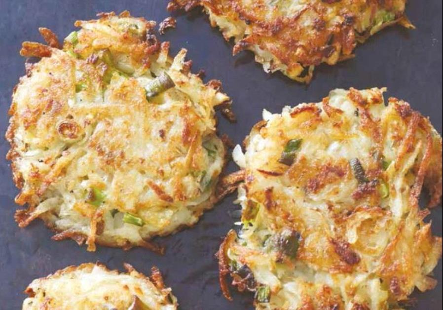 Root vegetable latkes.(photo credit:LAUREN VOLO)