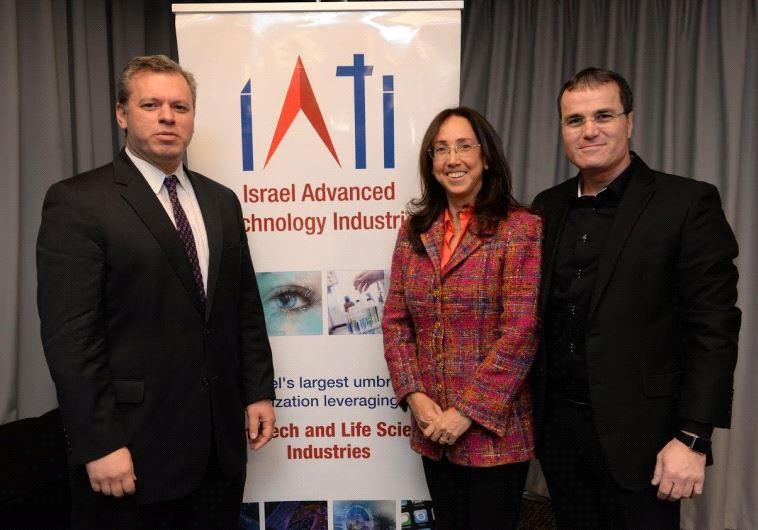 Left to right: Prime Minister's Office director general Eli Groner, IATI CEO Karin Mayer Rubinstein,