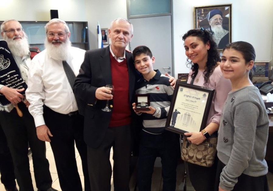 IDF Chief Rabbi Eyal Karim, Deputy Defense Minister Eli Ben-Dahan, grandfather Yisrael Rutner, bar m