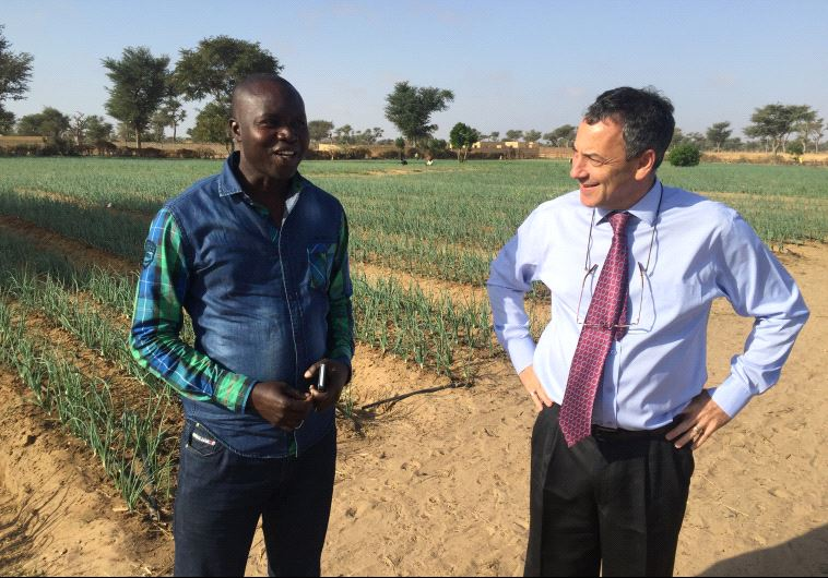 Ambassador Paul Hirschson at a small farm project supported by Israel in Senegal in March