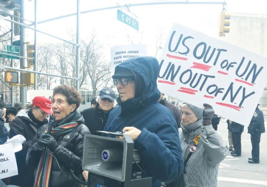 NY protestors demonstrate against UN resolution 2334