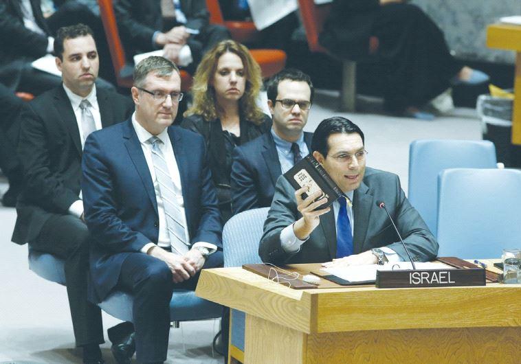 UN AMBASSADOR Danny Danon speaks at the Security Council