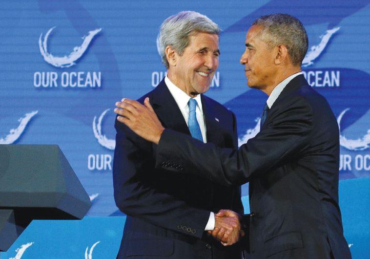 US PRESIDENT Barack Obama and Secretary of State John Kerry: 'Not anti-Israel, anti-settlement.'