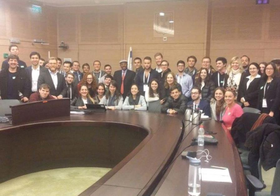 MEMBERS OF the World Union of Jewish Students (WUJS) meet with the Diaspora Affairs Committee
