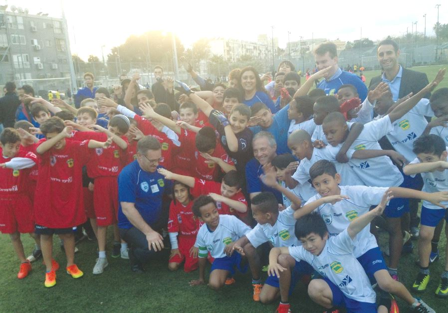 STUDENTS IN THE Equalizer program pose for a photo before a soccer tournament in Jaffa on Tuesday