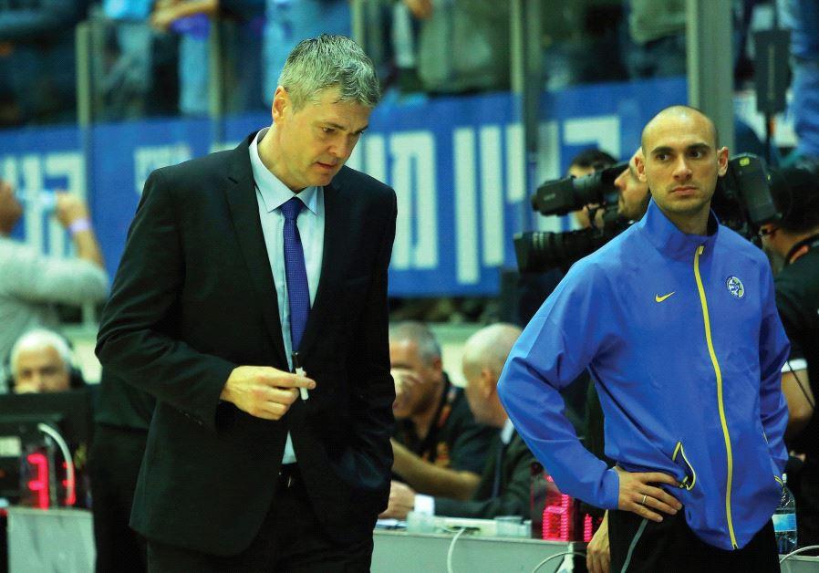 Maccabi Tel Aviv coach Ainars Bagatskis (left) looked lost for ideas following last night's 94-86 BS