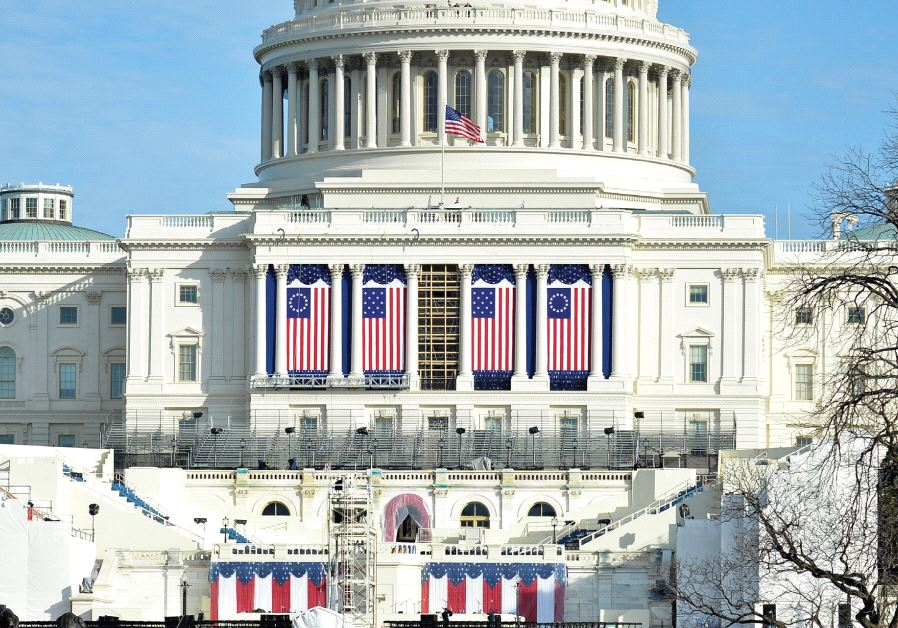 PREPARATIONS ARE FINALIZED on the West Front of the US Capitol, where Donald J. Trump will be sworn