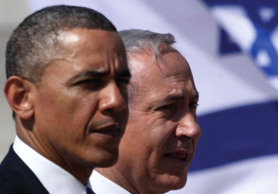 PRIME MINISTER Benjamin Netanyahu stands with President Barack Obama