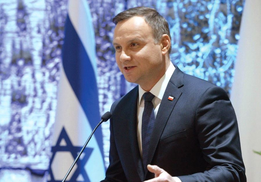 POLAND'S PRESIDENT Andrzej Duda speaks at an event at the King David Hotel in Jerusalem