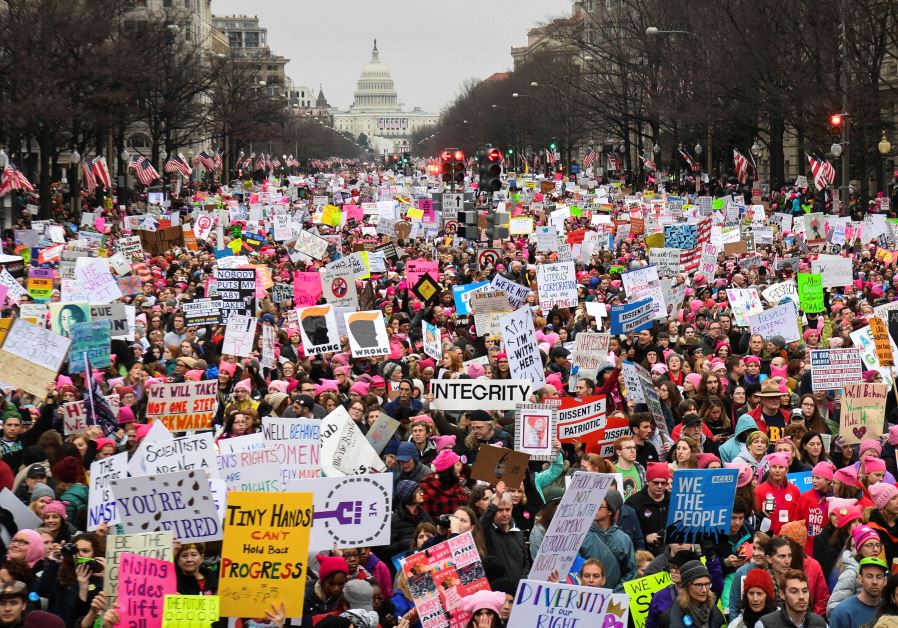 Hundreds of thousands march down Pennsylvania Avenue during the Women's March.