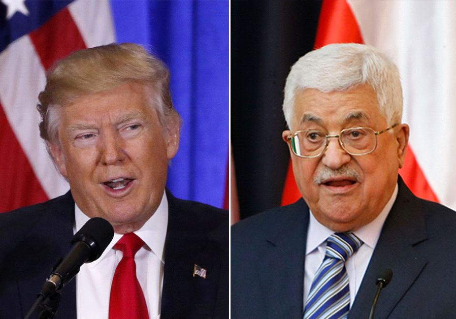 Donald Trump (L) and Mahmoud Abbas (R)