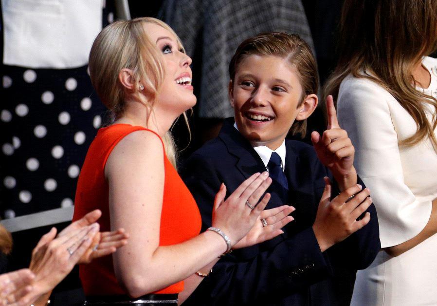 Barron and Tiffany Trump