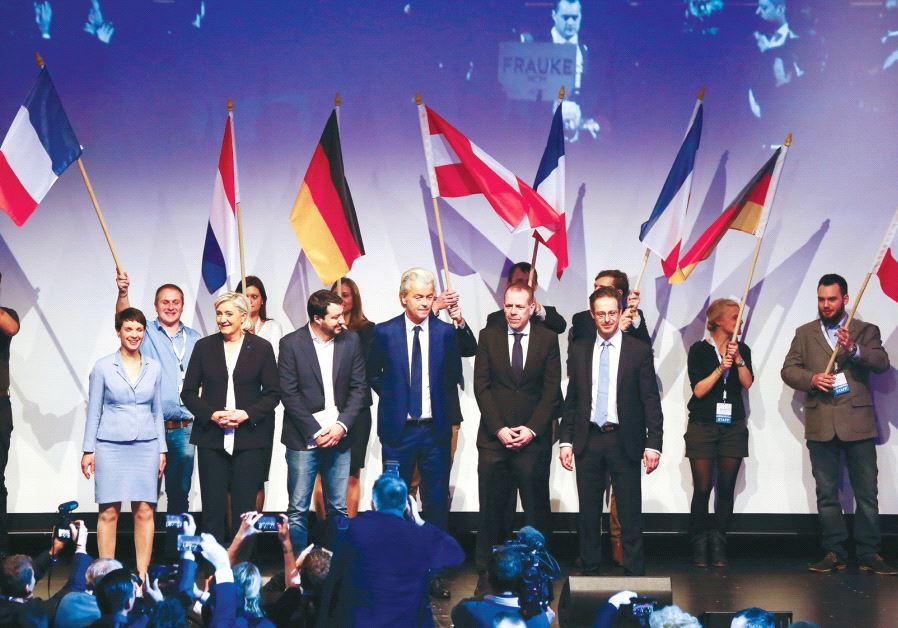 LEADERS OF far-right European political parties arrive on stage for a meeting in Germany over the we