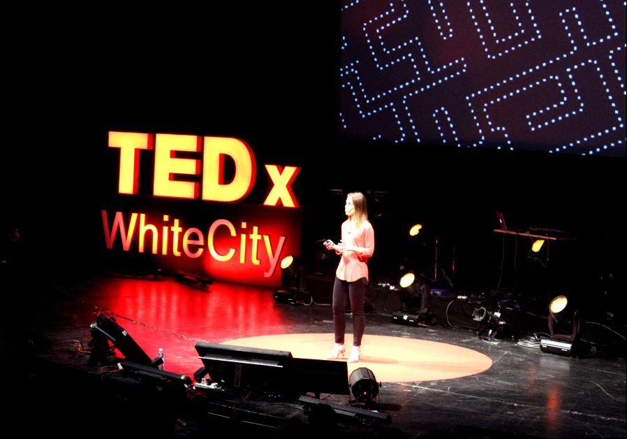 Galia Benartzi speaking at TEDxWhiteCity in Tel Aviv on Jan. 25, 2017 (photo credit: MICHELLE MALKA GROSSMAN)