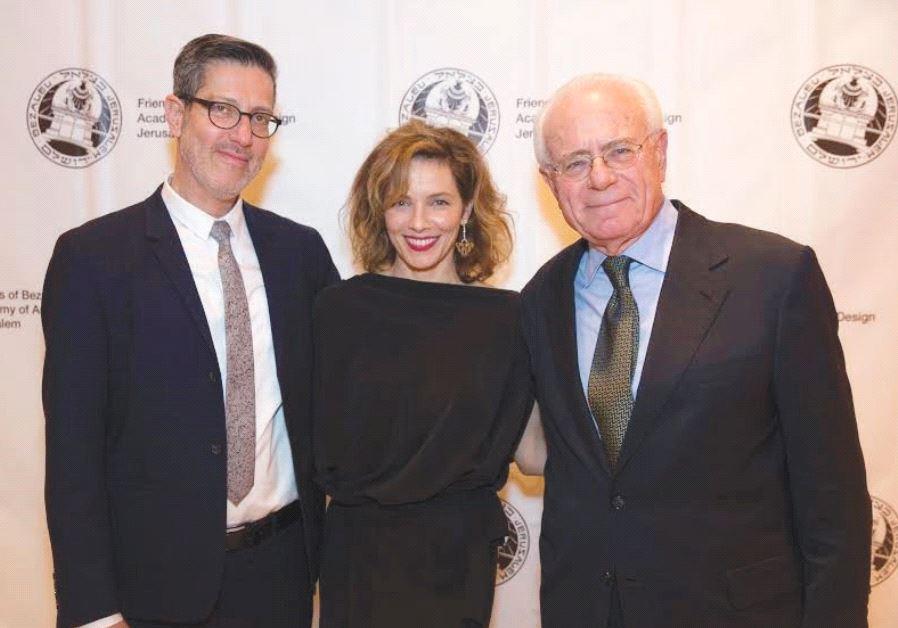 MILI AVITAL with her husband, Charles Randolph (left), and Prof. Adi Stern, president of the Bezalel