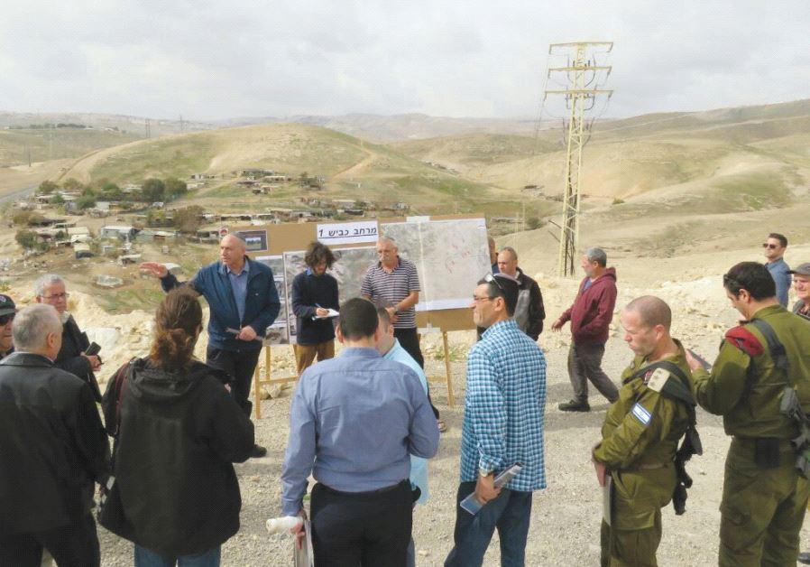 THE KNESSET'S Foreign Affairs and Defense Committee subgroup on Judea and Samaria observes Palestini