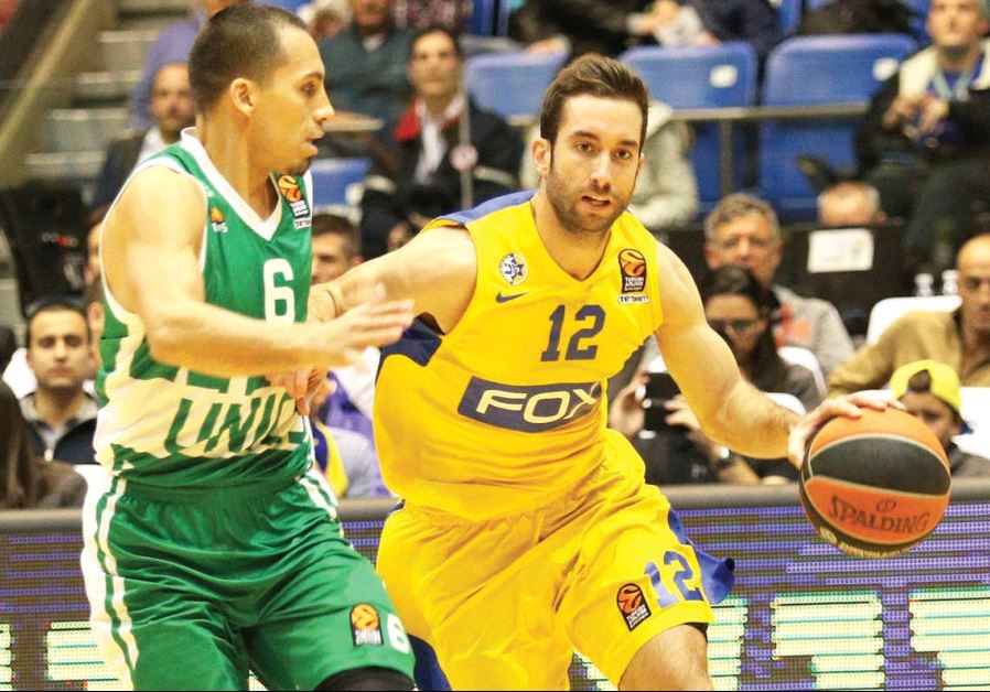Maccabi Tel Aviv guard Yogev Ohayon (right) was one of two yellow-and-blue players to score in doubl