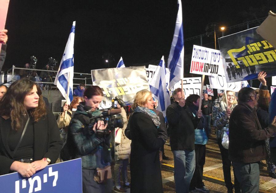 PROTESTERS RALLY against Prime Minister Benjamin Netanyahu at Rabin Square in Tel Aviv last night.