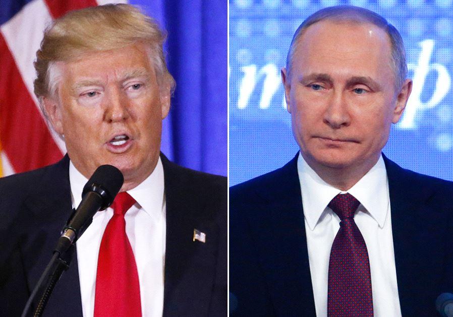 Donald Trump (L) and Vladimir Putin (R)