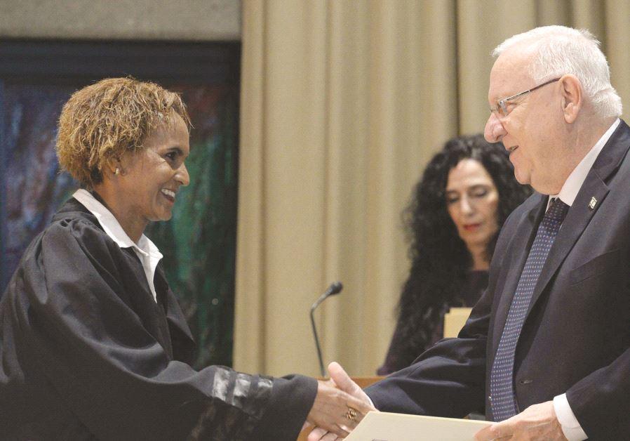 La nouvelle juge après sa nomination par le Président Rivlin