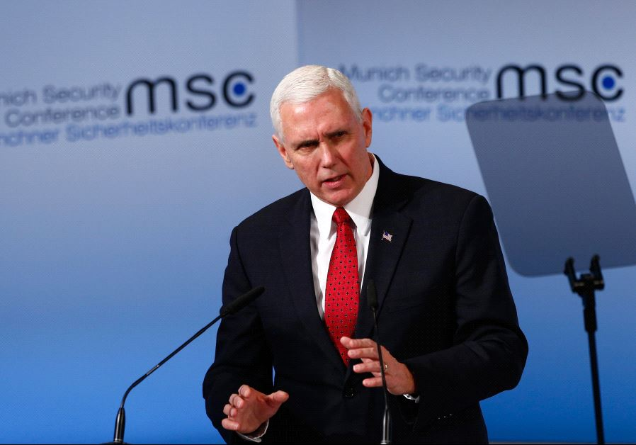 US Vice President Pence delivers his speech during the 53rd Munich Security Conference in Munich