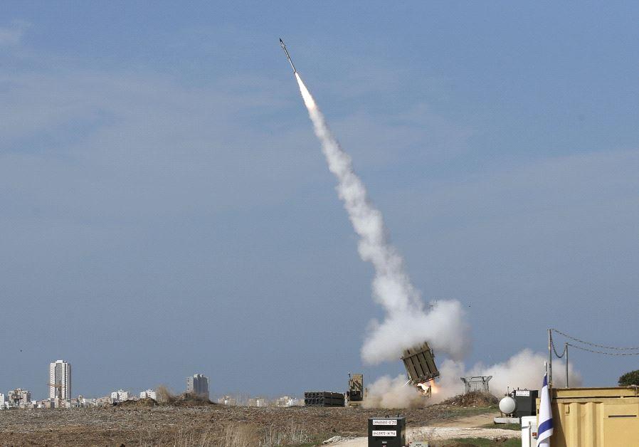 Iron Dome launcher fires an interceptor rocket  (photo credit: REUTERS)