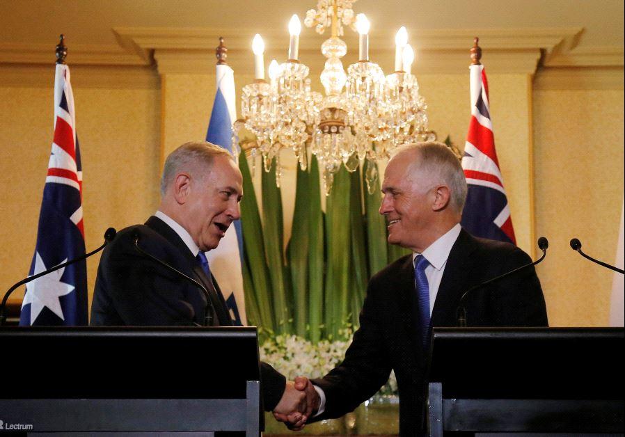 Prime Minister Benjamin Netanyahu and Australian Prime Minister Malcolm Turnbull.