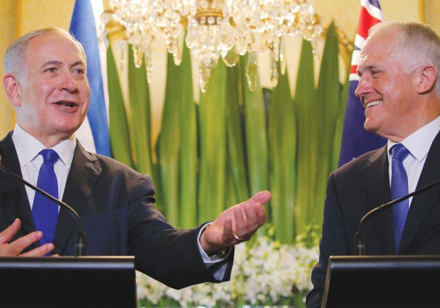 PRIME MINISTER Benjamin Netanyahu and Australian Prime Minister Malcolm Turnbull appeared inseparabl