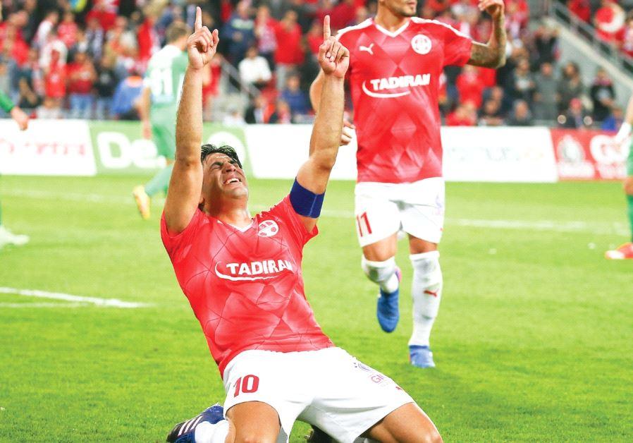 Hapoel Beersheba striker Elyaniv Barda broke down in tears after netting his team's second goal in l
