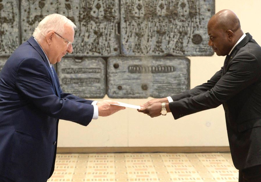 CALIXTE BATOSSIE MADJOULBA of Togo presents his credentials to President Reuven Rivlin at the Presid