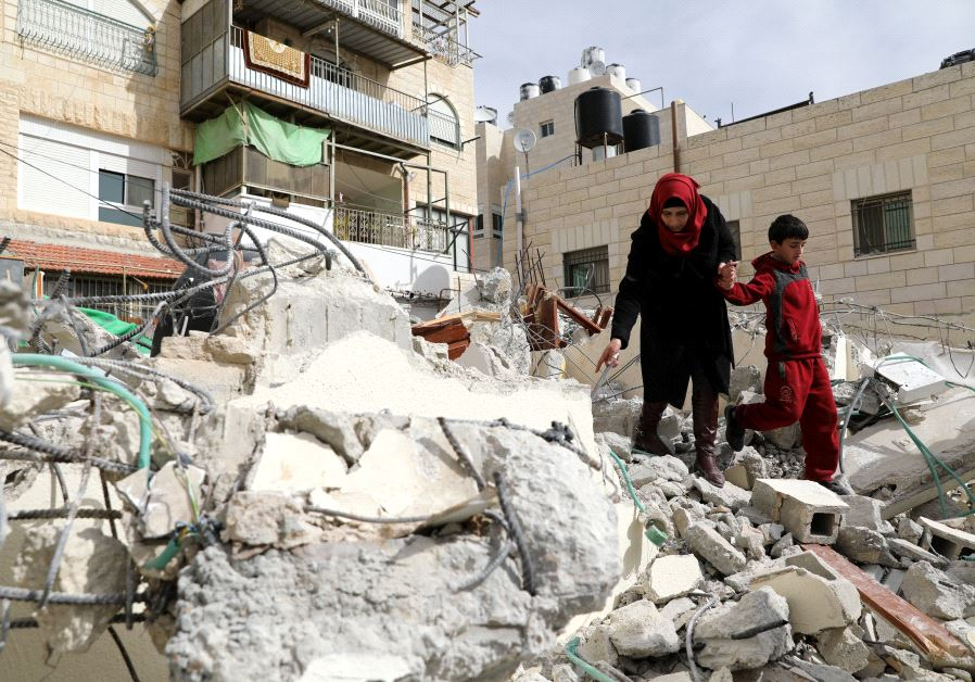 Rubble from a house which was demolished in Jerusalem as they did not have a building permit
