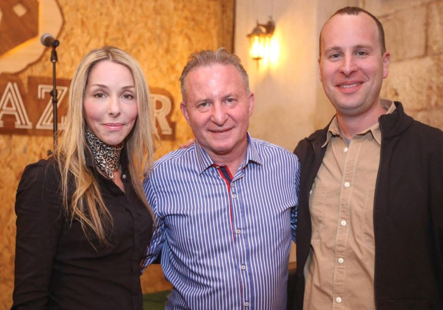 RONIT HASIN-HOCHMAN, CEO Jerusalem Post Group, with Steve Linde (center) and Yaakov Katz at the Beer